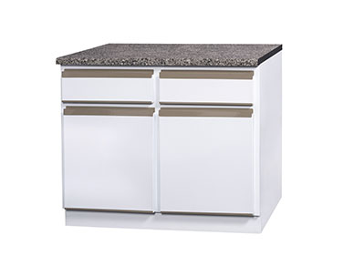 1050 2 door 2 drawer base unit with 32mm post form top