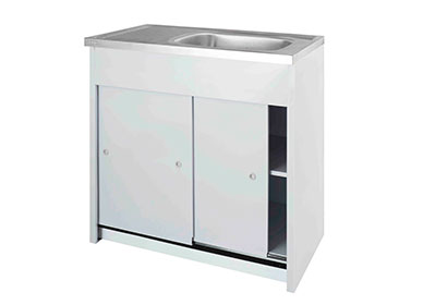 900 Sliding Door sink unit with stainless steel sink top