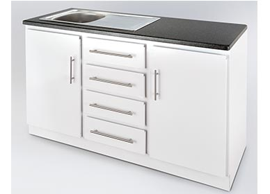 1500 sink unit with stainless steel sink and 30mm Rustenburg Granite top - (available either right or left hand bowl)